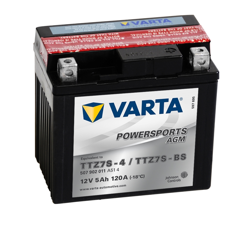 ytz7s bs varta powersports agm motorcycle battery 507 902 011 12v 5ah motorcycle batteries. Black Bedroom Furniture Sets. Home Design Ideas
