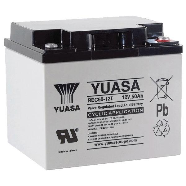 yuasa rec50 12 12v 50ah cyclic agm vrla deep cycle battery. Black Bedroom Furniture Sets. Home Design Ideas