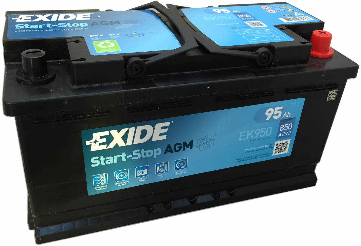 ek950 exide start stop agm car battery 95ah 017 car. Black Bedroom Furniture Sets. Home Design Ideas